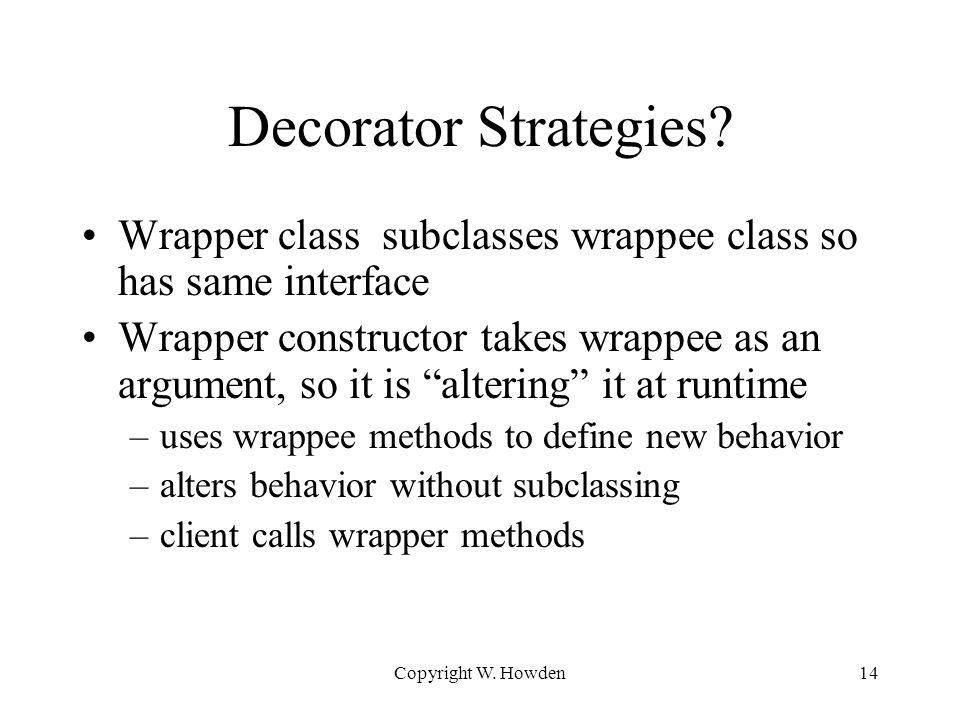 Copyright W. Howden14 Decorator Strategies.