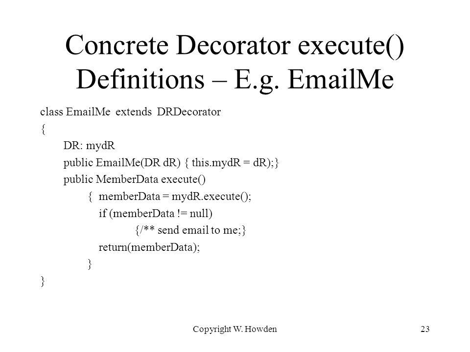 Concrete Decorator execute() Definitions – E.g.