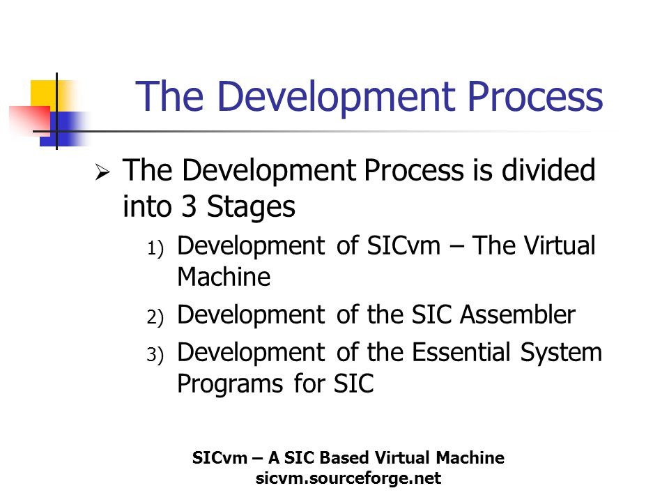 SICvm – A SIC Based Virtual Machine sicvm.sourceforge.net The Development Process  The Development Process is divided into 3 Stages 1) Development of
