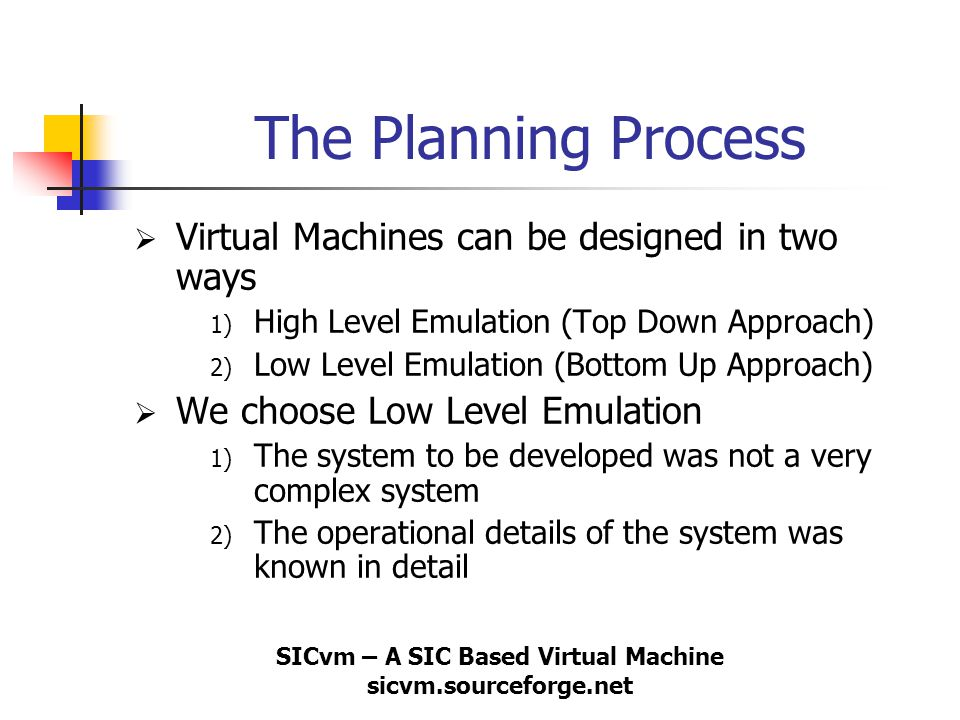 SICvm – A SIC Based Virtual Machine sicvm.sourceforge.net The Planning Process  Virtual Machines can be designed in two ways 1) High Level Emulation