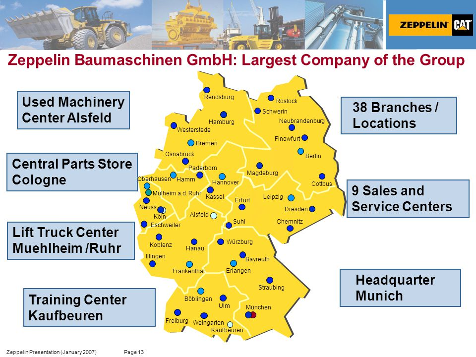 Zeppelin Presentation (January 2007) Page 13 9 Sales and Service Centers Zeppelin Baumaschinen GmbH: Largest Company of the Group Headquarter Munich T