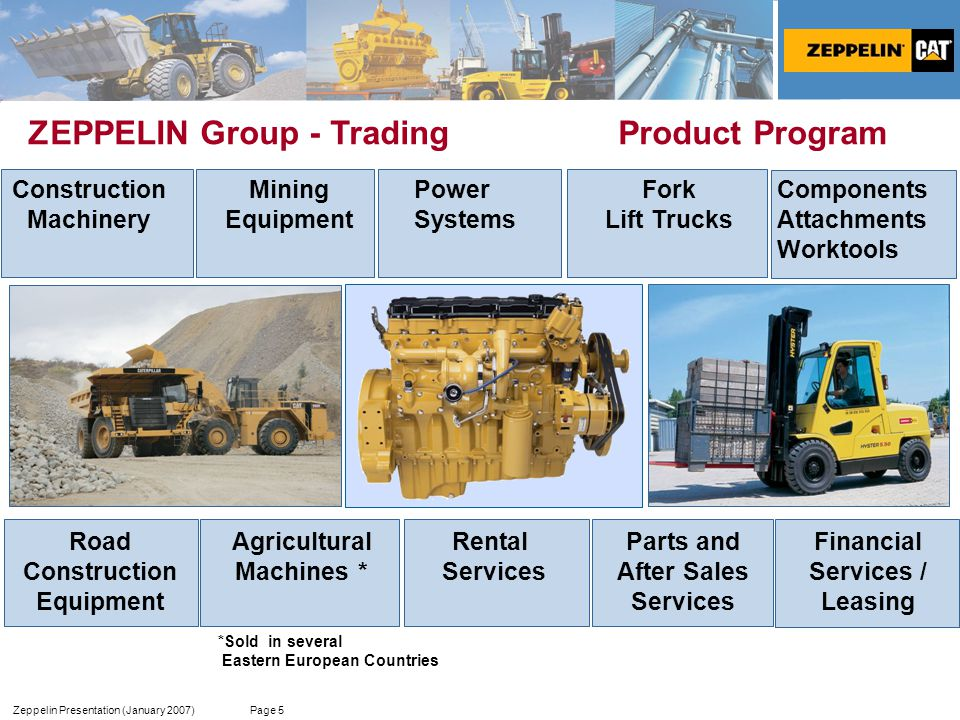 Zeppelin Presentation (January 2007) Page 5 ZEPPELIN Group - Trading Product Program Components Attachments Worktools Construction Machinery Power Systems Parts and After Sales Services Financial Services / Leasing Rental Services Agricultural Machines * Fork Lift Trucks Road Construction Equipment *Sold in several Eastern European Countries Mining Equipment