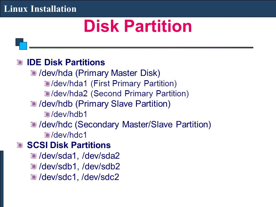Disk Partition Linux Installation IDE Disk Partitions /dev/hda (Primary Master Disk) /dev/hda1 (First Primary Partition) /dev/hda2 (Second Primary Partition) /dev/hdb (Primary Slave Partition) /dev/hdb1 /dev/hdc (Secondary Master/Slave Partition) /dev/hdc1 SCSI Disk Partitions /dev/sda1, /dev/sda2 /dev/sdb1, /dev/sdb2 /dev/sdc1, /dev/sdc2