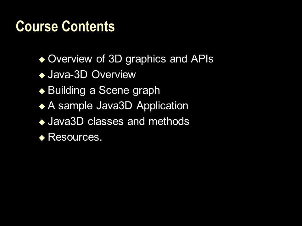 Java3D needed software Java run-time environment.Java SDK An IDE – Jbuilder, Realj, or others.