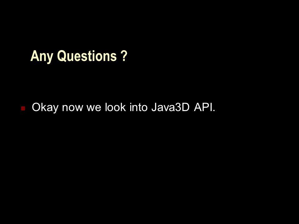 Java3D API Overview Scene graph construction mechanism Building a sample application.