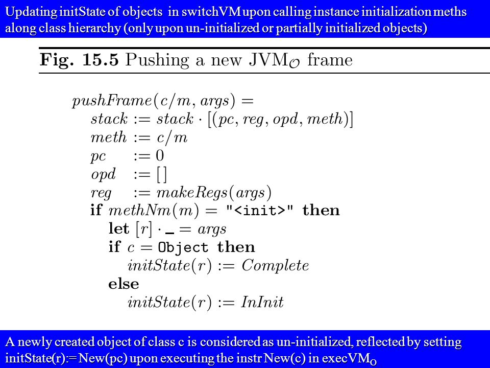 © Egon Börger: Decomposing & Layering JVM 26 Updating initState of objects in switchVM upon calling instance initialization meths along class hierarchy (only upon un-initialized or partially initialized objects) A newly created object of class c is considered as un-initialized, reflected by setting initState(r):= New(pc) upon executing the instr New(c) in execVM O