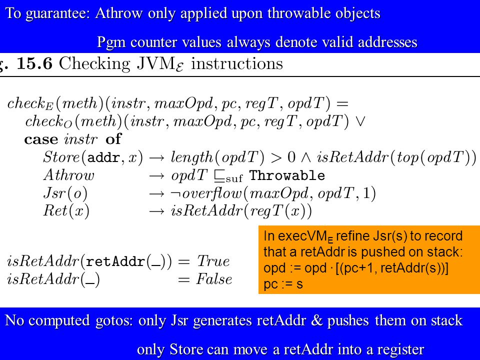 © Egon Börger: Decomposing & Layering JVM 27 To guarantee: Athrow only applied upon throwable objects Pgm counter values always denote valid addresses Pgm counter values always denote valid addresses No computed gotos: only Jsr generates retAddr & pushes them on stack only Store can move a retAddr into a register only Store can move a retAddr into a register In execVM E refine Jsr(s) to record that a retAddr is pushed on stack: opd := opd.