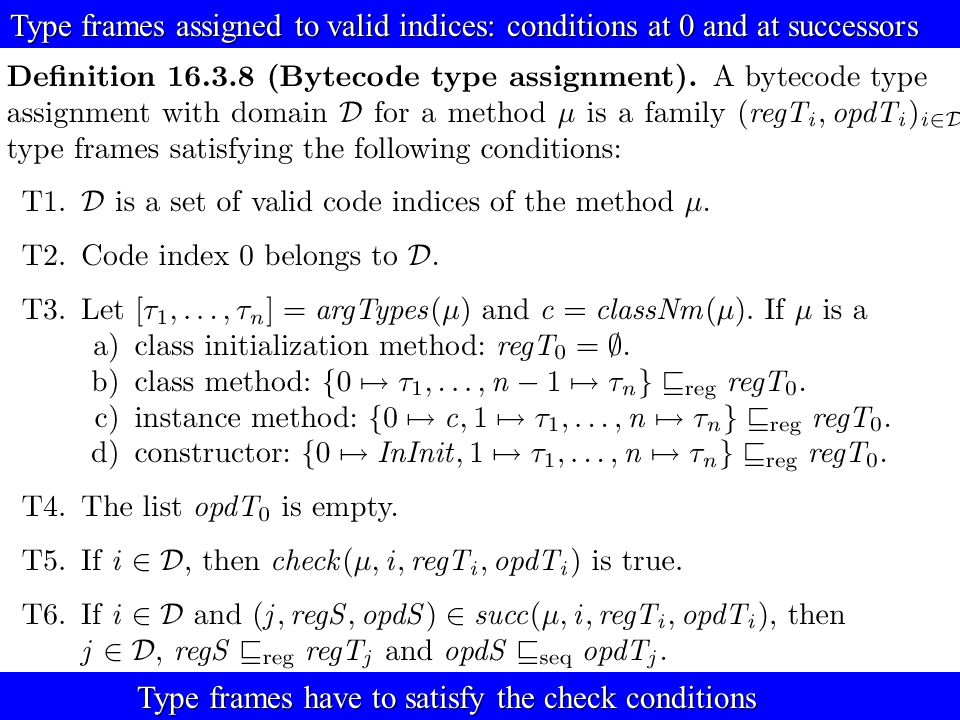 © Egon Börger: Decomposing & Layering JVM 31 Type frames assigned to valid indices: conditions at 0 and at successors Type frames have to satisfy the check conditions Type frames have to satisfy the check conditions