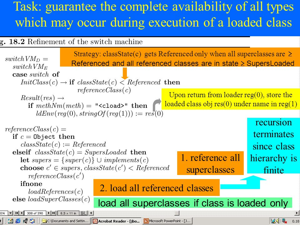 © Egon Börger: Decomposing & Layering JVM 50 Task: guarantee the complete availability of all types which may occur during execution of a loaded class 1.