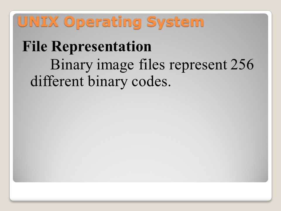 UNIX Operating System File Representation Binary image files represent 256 different binary codes.