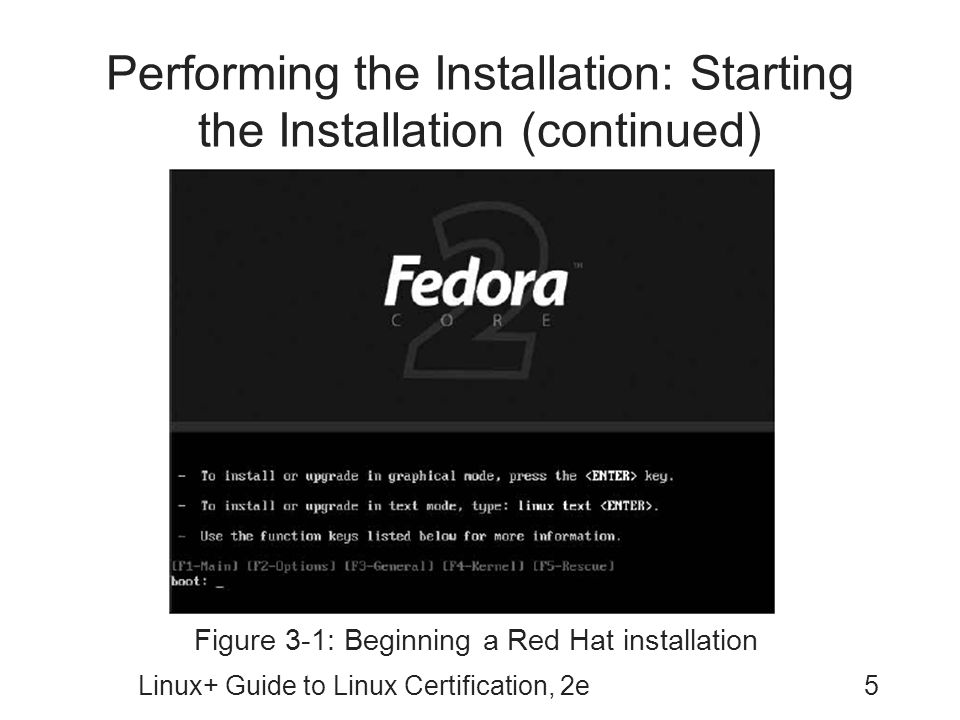 Linux+ Guide to Linux Certification, 2e5 Performing the Installation: Starting the Installation (continued) Figure 3-1: Beginning a Red Hat installati