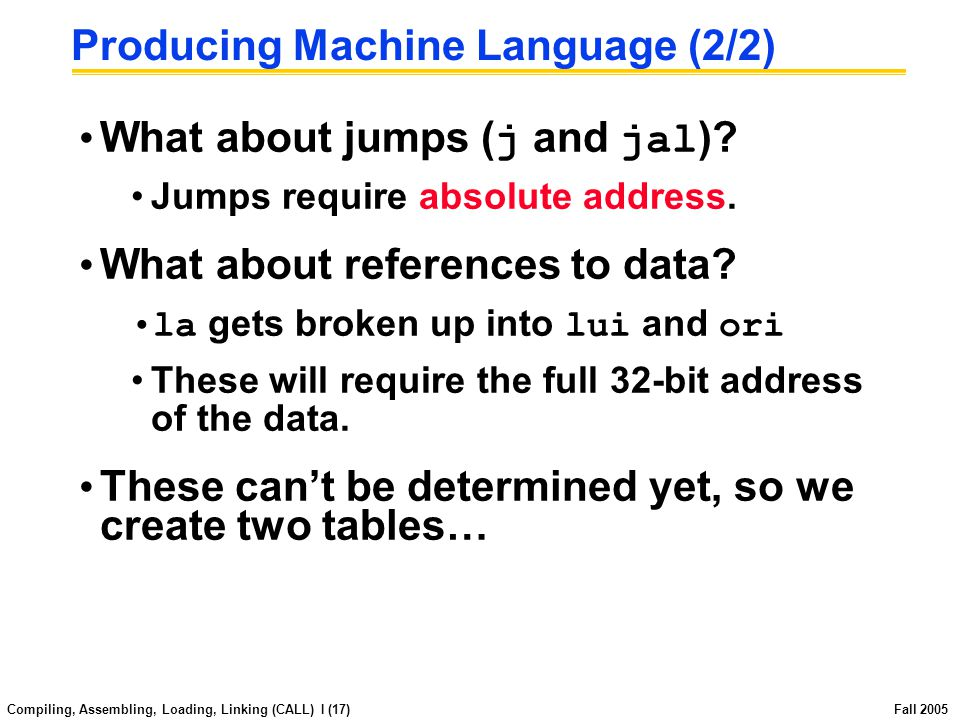 Compiling, Assembling, Loading, Linking (CALL) I (16) Fall 2005 Producing Machine Language (1/2) Simple Case Arithmetic, Logical, Shifts, and so on.