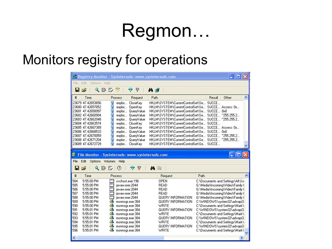 Regmon… Monitors registry for operations