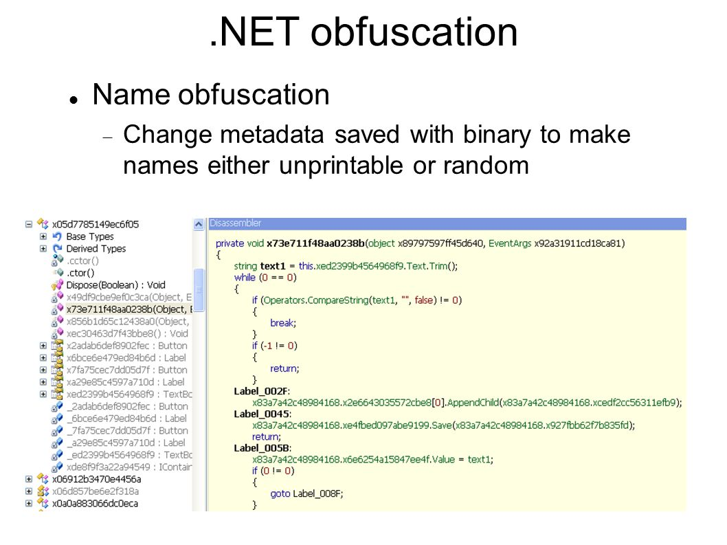 .NET obfuscation Name obfuscation  Change metadata saved with binary to make names either unprintable or random