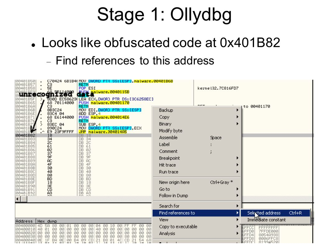 Stage 1: Ollydbg Looks like obfuscated code at 0x401B82  Find references to this address