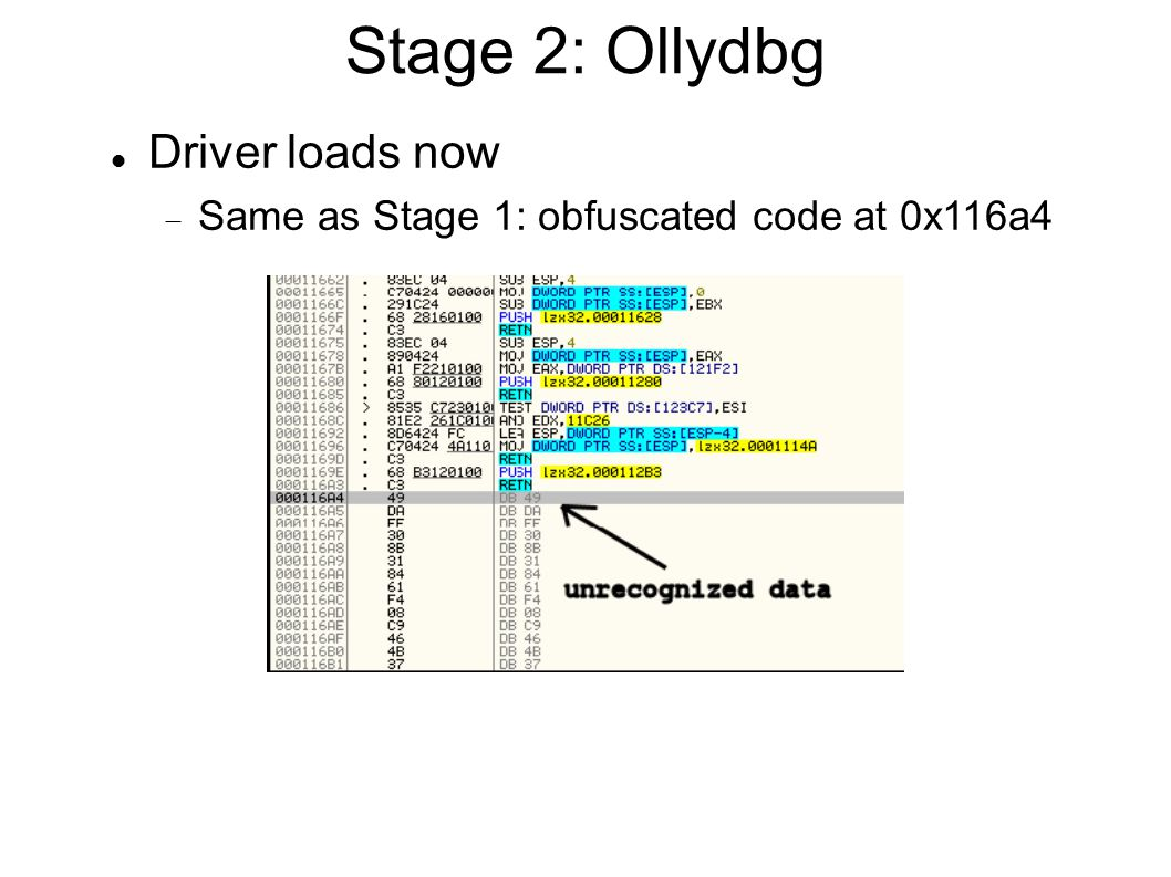 Stage 2: Ollydbg Driver loads now  Same as Stage 1: obfuscated code at 0x116a4