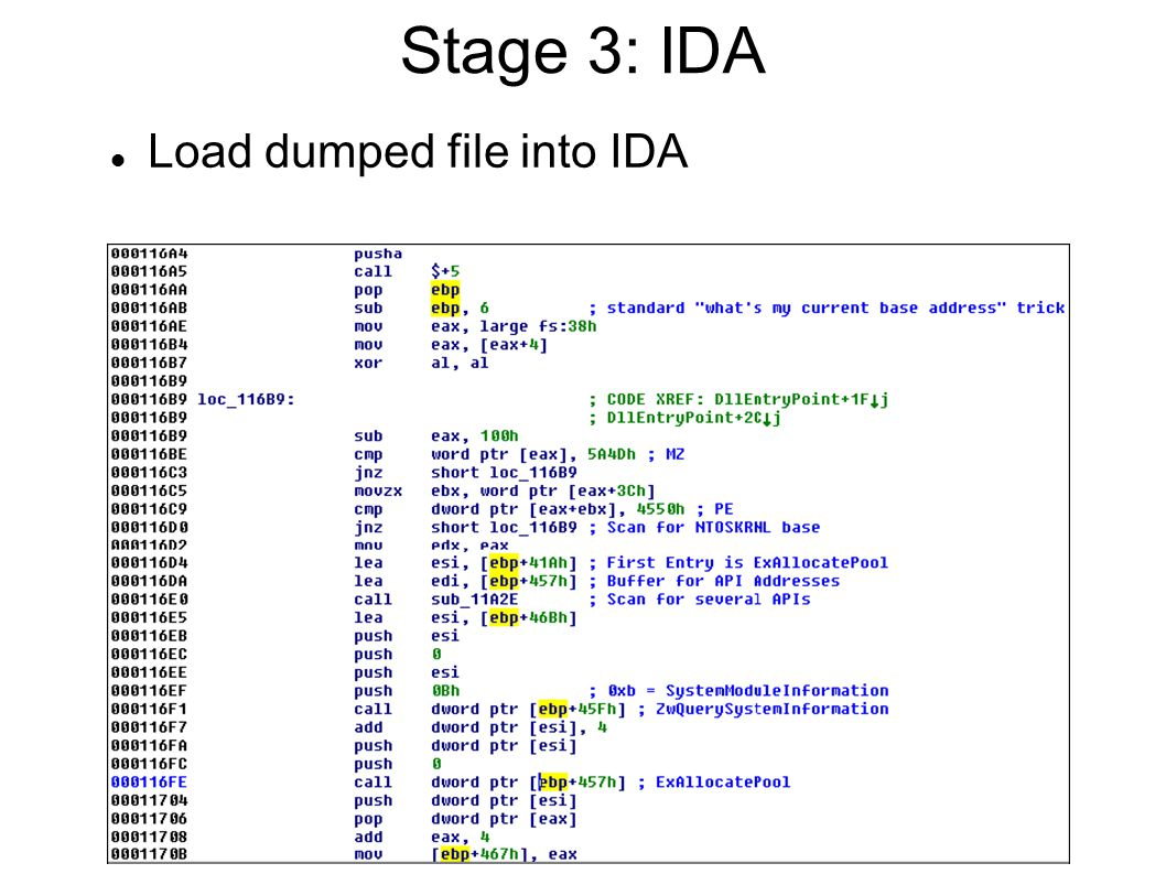 Stage 3: IDA Load dumped file into IDA