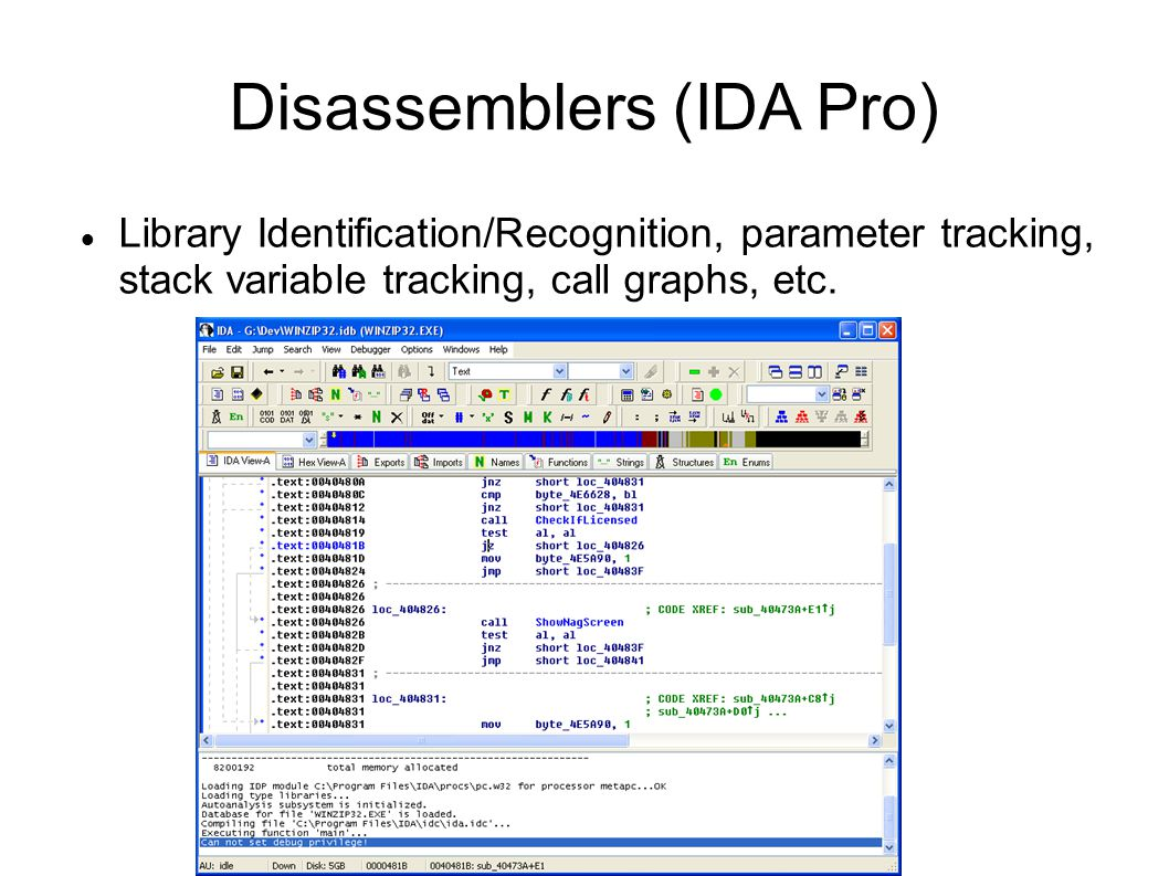 Disassemblers (IDA Pro)‏ Library Identification/Recognition, parameter tracking, stack variable tracking, call graphs, etc.