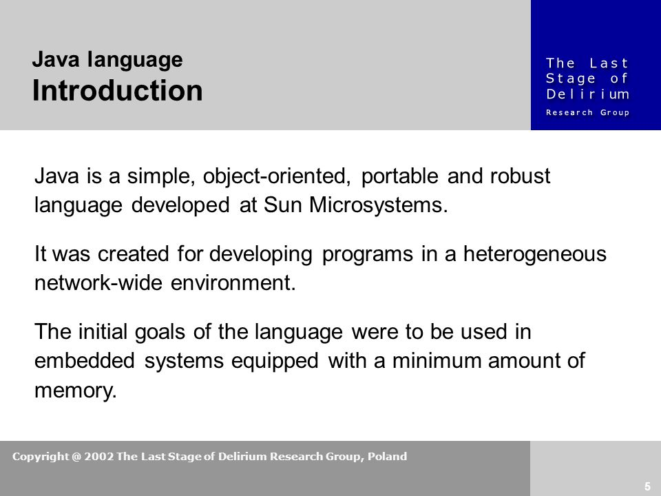 Copyright @ 2002 The Last Stage of Delirium Research Group, Poland 5 Java is a simple, object-oriented, portable and robust language developed at Sun Microsystems.