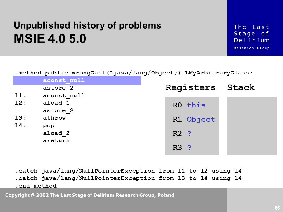 Copyright @ 2002 The Last Stage of Delirium Research Group, Poland 66 Unpublished history of problems MSIE 4.0 5.0.method public wrongCast(Ljava/lang/Object;) LMyArbitraryClass; aconst_null astore_2 l1:aconst_null l2:aload_1 astore_2 l3:athrow l4:pop aload_2 areturn.catch java/lang/NullPointerException from l1 to l2 using l4.catch java/lang/NullPointerException from l3 to l4 using l4.end method R0 this R1 Object R2 .
