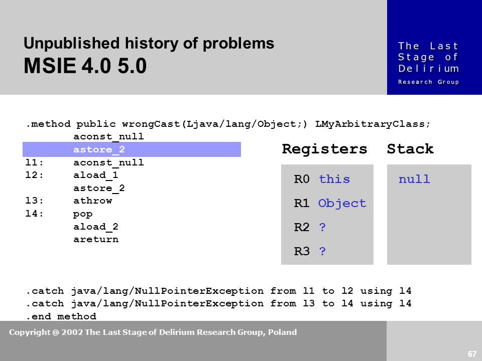 Copyright @ 2002 The Last Stage of Delirium Research Group, Poland 67 Unpublished history of problems MSIE 4.0 5.0.method public wrongCast(Ljava/lang/Object;) LMyArbitraryClass; aconst_null astore_2 l1:aconst_null l2:aload_1 astore_2 l3:athrow l4:pop aload_2 areturn.catch java/lang/NullPointerException from l1 to l2 using l4.catch java/lang/NullPointerException from l3 to l4 using l4.end method R0 this R1 Object R2 .