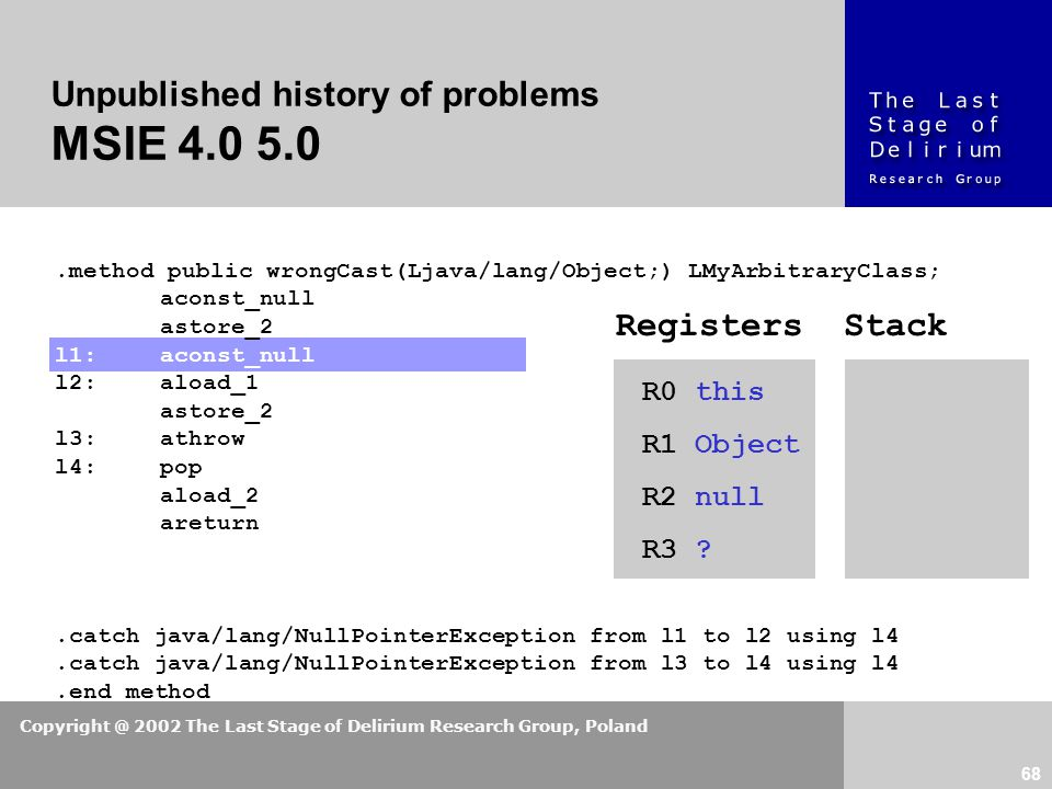 Copyright @ 2002 The Last Stage of Delirium Research Group, Poland 68 Unpublished history of problems MSIE 4.0 5.0.method public wrongCast(Ljava/lang/Object;) LMyArbitraryClass; aconst_null astore_2 l1:aconst_null l2:aload_1 astore_2 l3:athrow l4:pop aload_2 areturn.catch java/lang/NullPointerException from l1 to l2 using l4.catch java/lang/NullPointerException from l3 to l4 using l4.end method R0 this R1 Object R2 null R3 .