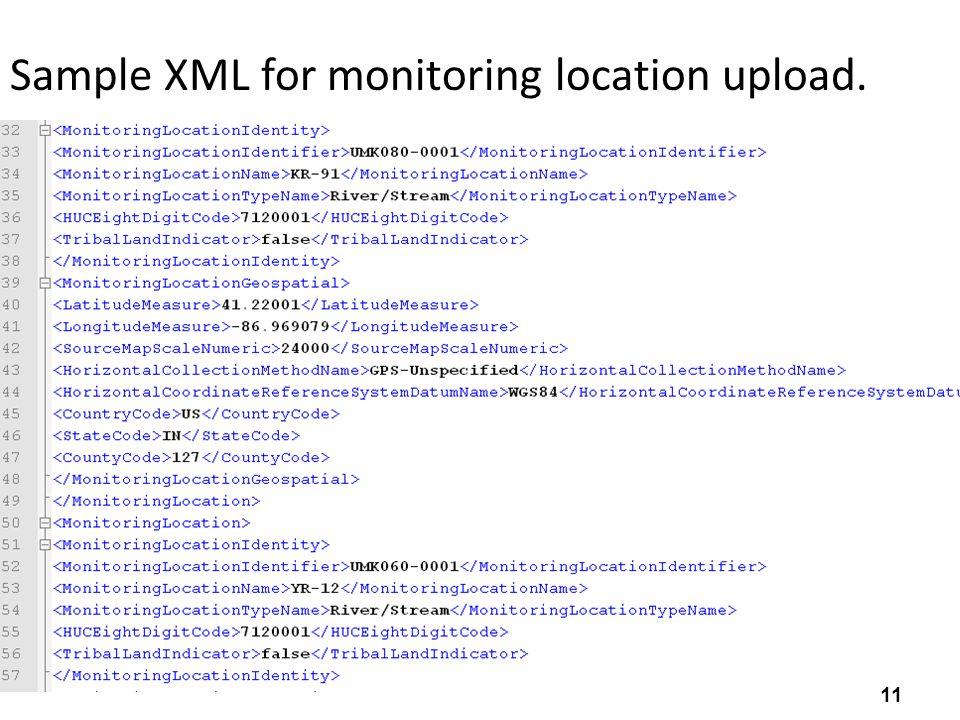 Sample XML for monitoring location upload. 11