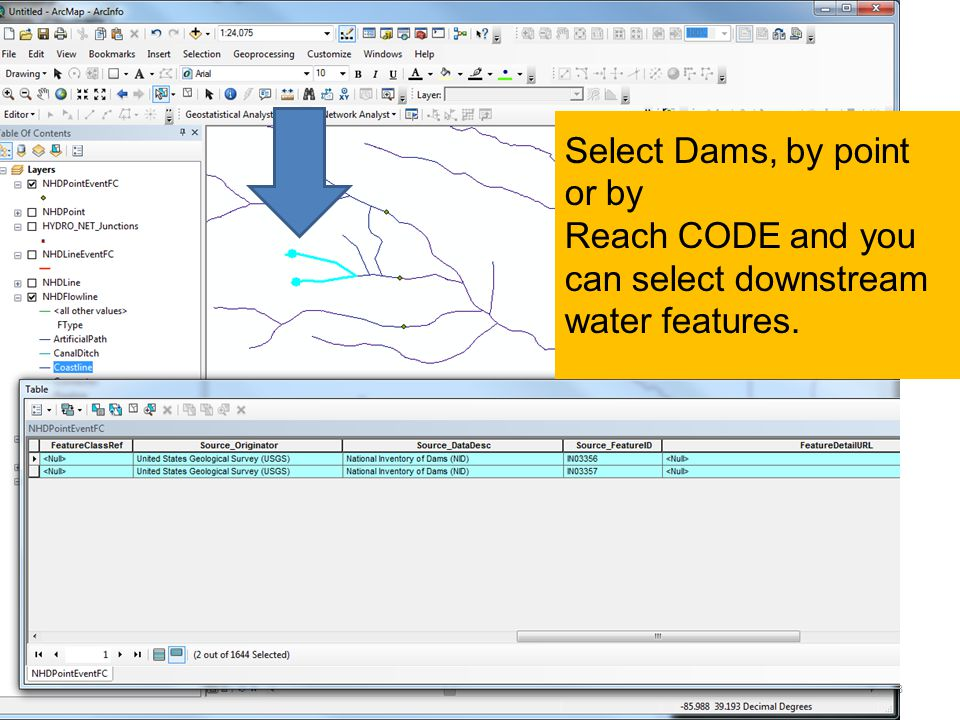 OISC WQX23 Select Dams, by point or by Reach CODE and you can select downstream water features.