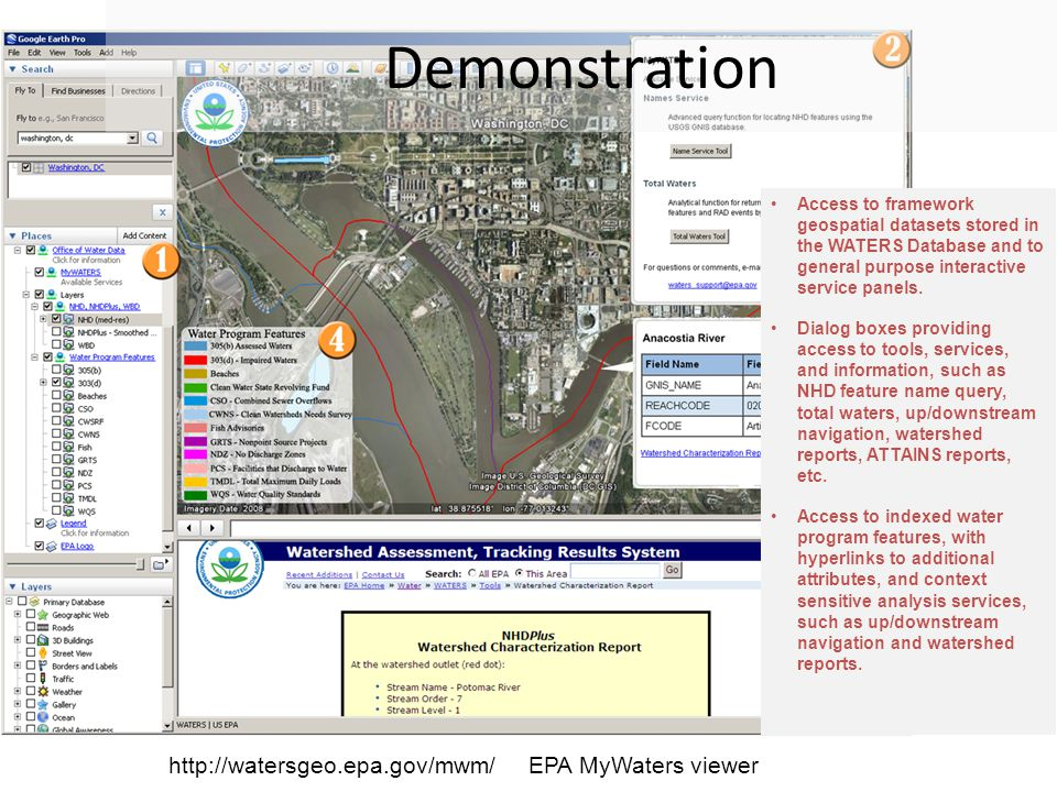 Demonstration Access to framework geospatial datasets stored in the WATERS Database and to general purpose interactive service panels.