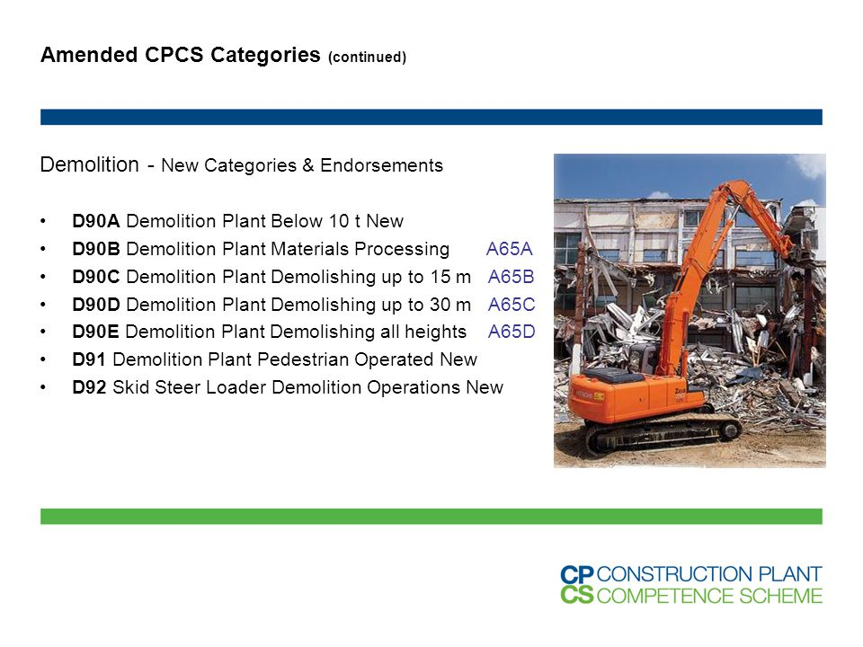 Amended CPCS Categories (continued) Demolition - New Categories & Endorsements D90A Demolition Plant Below 10 t New D90B Demolition Plant Materials Pr