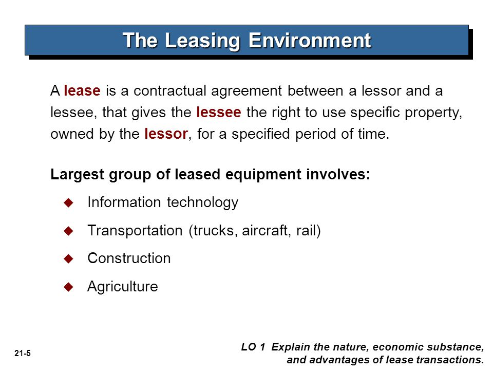 21-76 LO 10 Understand and apply lease accounting concepts to various lease arrangements.