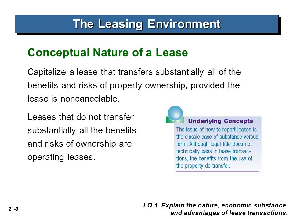 21-19 Accounting by the Lessee Depreciation Period   If lease transfers ownership, depreciate asset over the economic life of the asset.