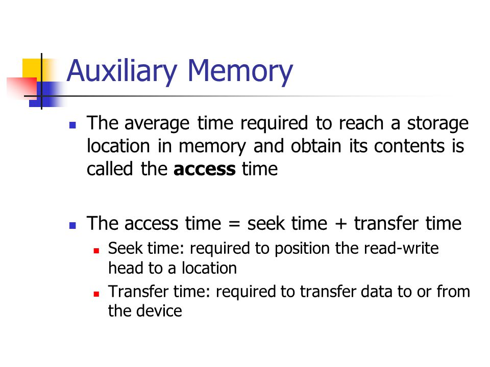 Auxiliary Memory The average time required to reach a storage location in memory and obtain its contents is called the access time The access time = s