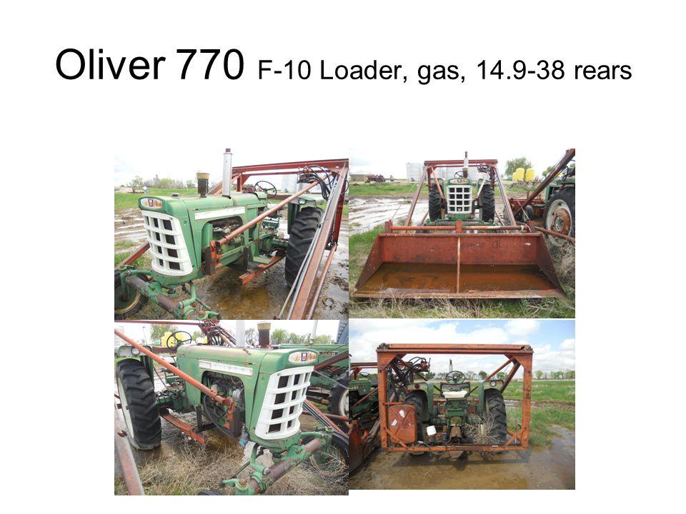 Oliver 770 F-10 Loader, gas, 14.9-38 rears