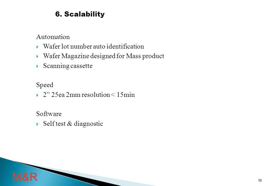 Automation  Wafer lot number auto identification  Wafer Magazine designed for Mass product  Scanning cassette Speed  2 25ea 2mm resolution < 15min Software  Self test & diagnostic 6.