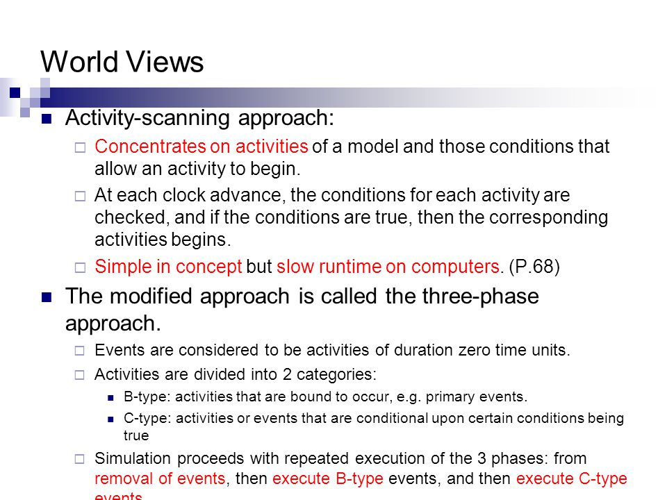 World Views Activity-scanning approach:  Concentrates on activities of a model and those conditions that allow an activity to begin.  At each clock