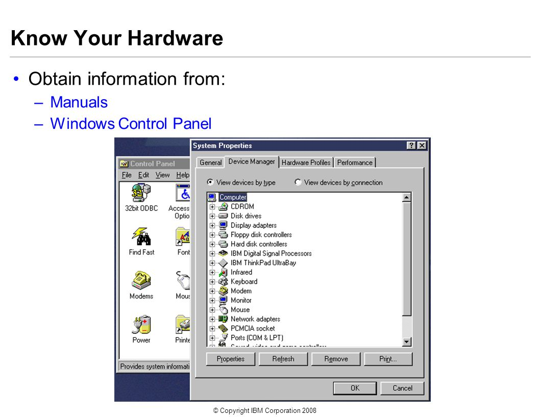 © Copyright IBM Corporation 2008 Know Your Hardware Obtain information from: –Manuals –Windows Control Panel