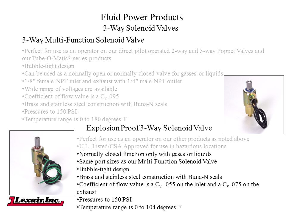 Fluid Power Products 3-Way Multi-Function Solenoid Valve Perfect for use as an operator on our direct pilot operated 2-way and 3-way Poppet Valves and