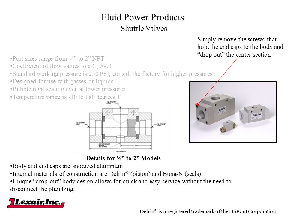 "Fluid Power Products Shuttle Valves Port sizes range from ¼"" to 2"" NPT Coefficient of flow values to a C v 59.0 Standard working pressure is 250 PSI,"