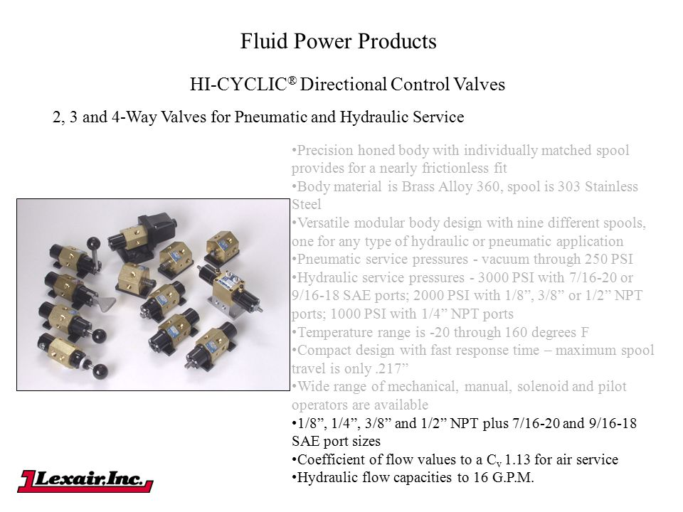 Fluid Power Products HI-CYCLIC ® Directional Control Valves 2, 3 and 4-Way Valves for Pneumatic and Hydraulic Service Precision honed body with indivi