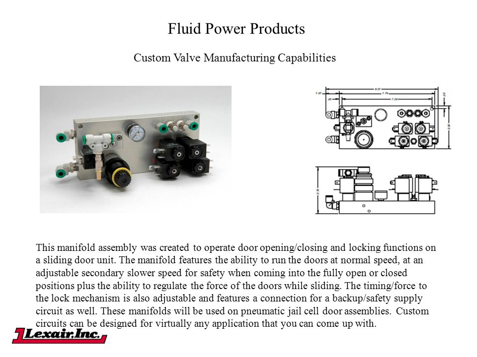 Fluid Power Products Custom Valve Manufacturing Capabilities This manifold assembly was created to operate door opening/closing and locking functions