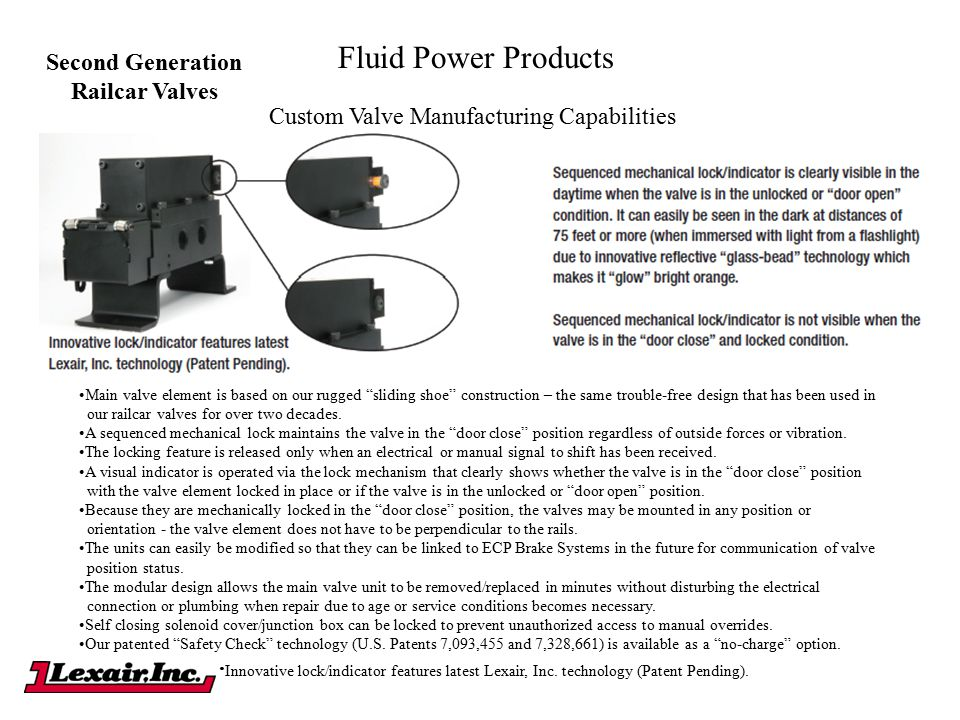 "Fluid Power Products Custom Valve Manufacturing Capabilities Second Generation Railcar Valves Main valve element is based on our rugged ""sliding shoe"""