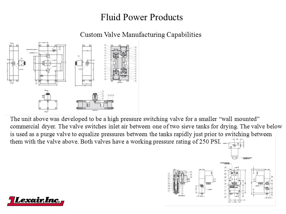 "Fluid Power Products Custom Valve Manufacturing Capabilities The unit above was developed to be a high pressure switching valve for a smaller ""wall mo"