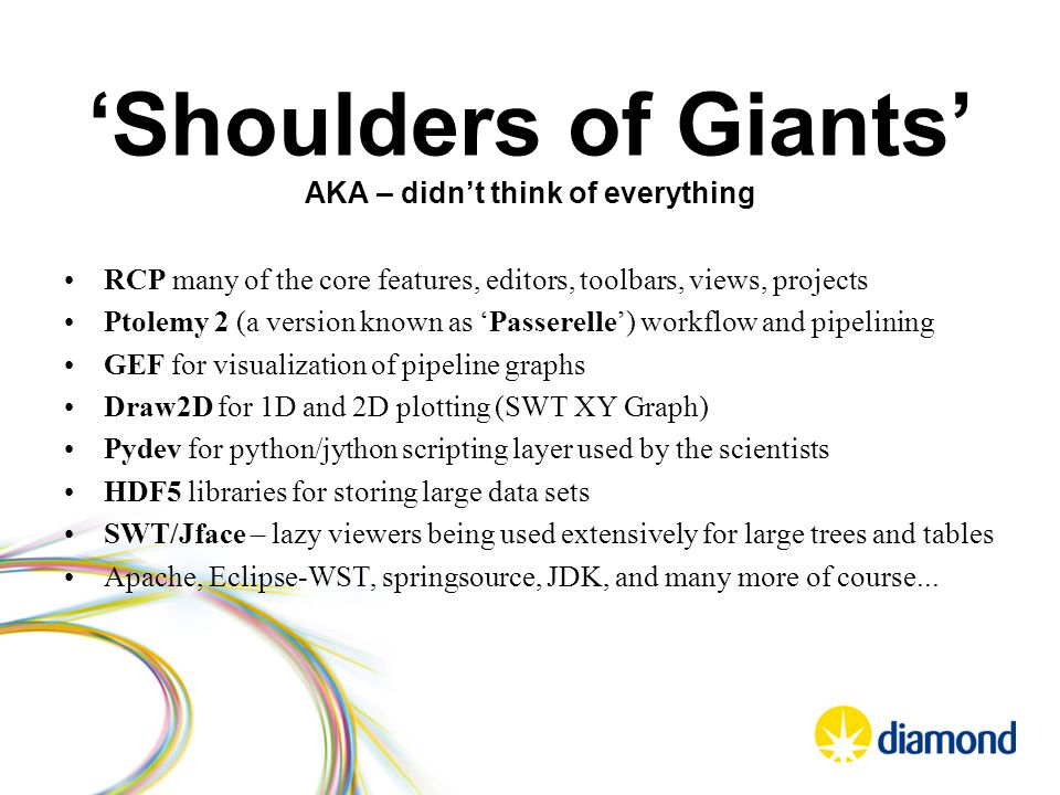 'Shoulders of Giants' AKA – didn't think of everything RCP many of the core features, editors, toolbars, views, projects Ptolemy 2 (a version known as 'Passerelle') workflow and pipelining GEF for visualization of pipeline graphs Draw2D for 1D and 2D plotting (SWT XY Graph) Pydev for python/jython scripting layer used by the scientists HDF5 libraries for storing large data sets SWT/Jface – lazy viewers being used extensively for large trees and tables Apache, Eclipse-WST, springsource, JDK, and many more of course...