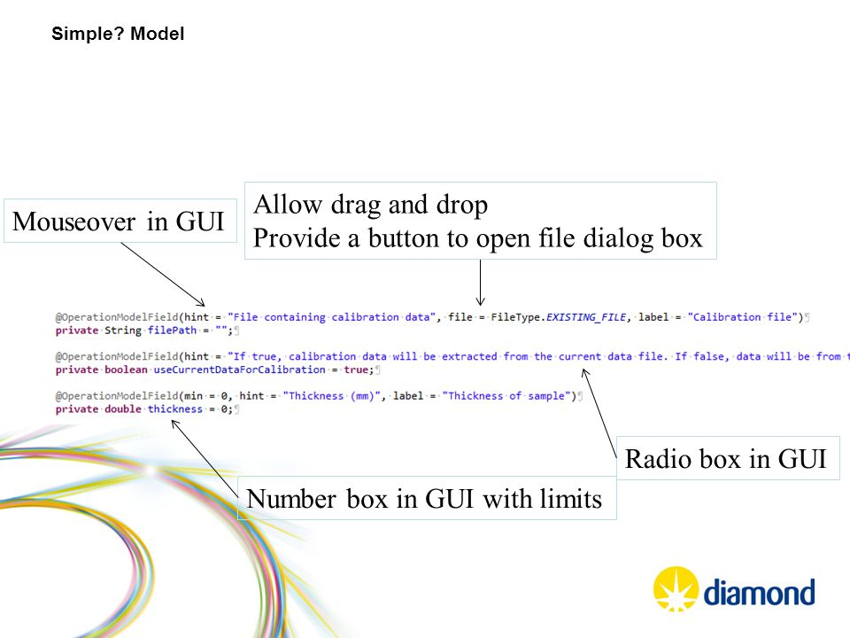 Simple? Model Allow drag and drop Provide a button to open file dialog box Radio box in GUI Number box in GUI with limits Mouseover in GUI