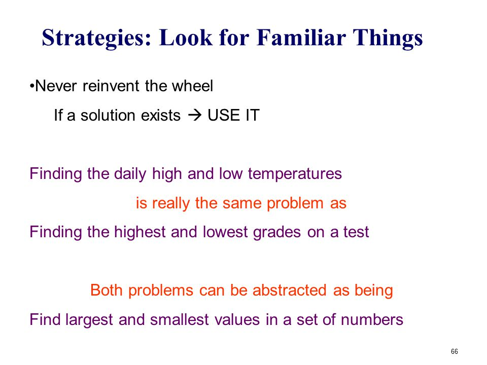 66 Strategies: Look for Familiar Things Never reinvent the wheel If a solution exists  USE IT Finding the daily high and low temperatures is really t