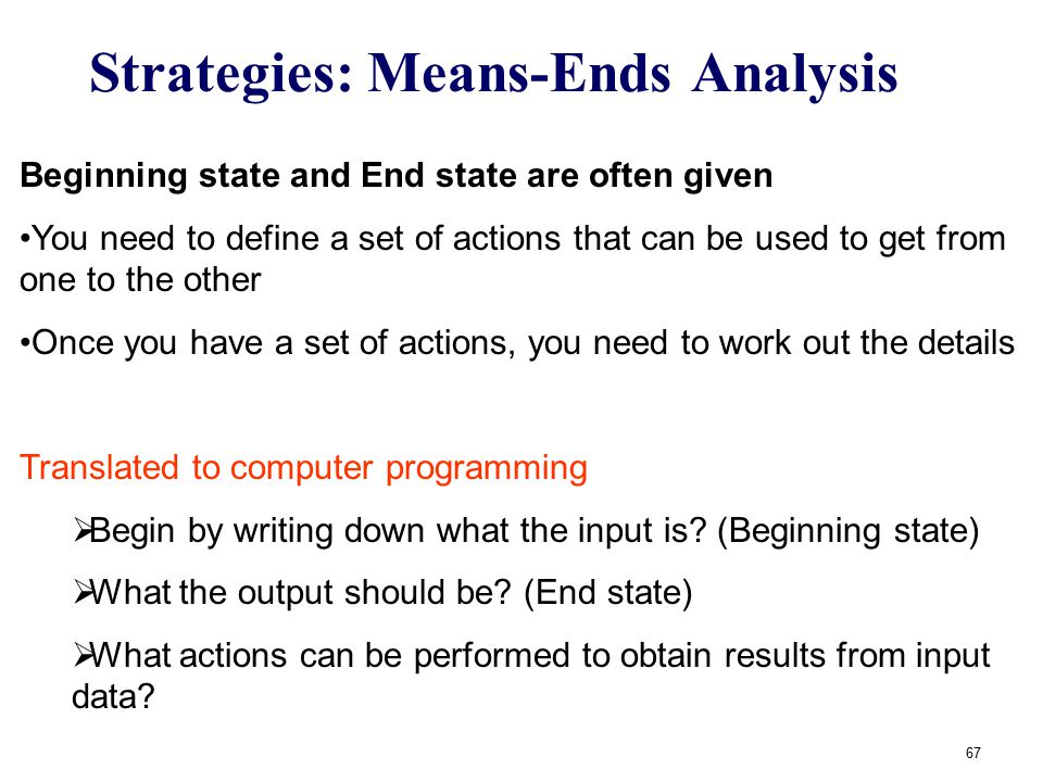 67 Strategies: Means-Ends Analysis Beginning state and End state are often given You need to define a set of actions that can be used to get from one