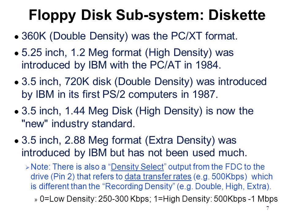 7 Floppy Disk Sub-system: Diskette l 360K (Double Density) was the PC/XT format.