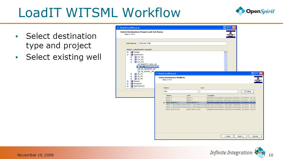 Infinite Integration LoadIT WITSML Workflow Select destination type and project Select existing well 10November 19, 2008